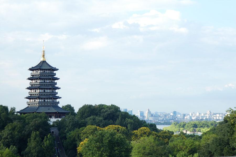 Vue sur Hangzhou depuis le monastère
